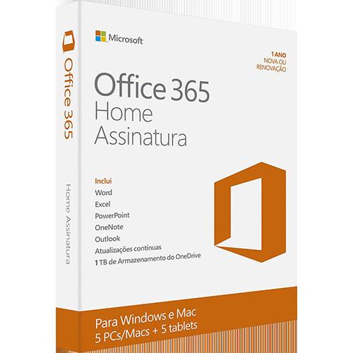 Microsoft Office 365 Home: 5 Licenças (PC, Mac, Android e IOS) + 1 TB de HD virtual para cada licença  - TNTinfo Loja