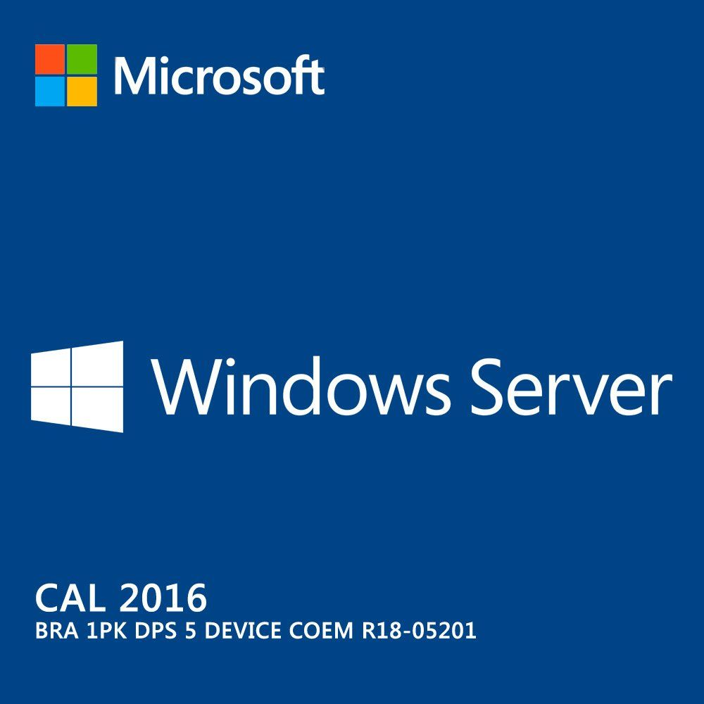 Microsoft Windows Server Cal 2016 Português 64 Bits 5 Dispositivos R18-05201 COEM   - TNTinfo Loja
