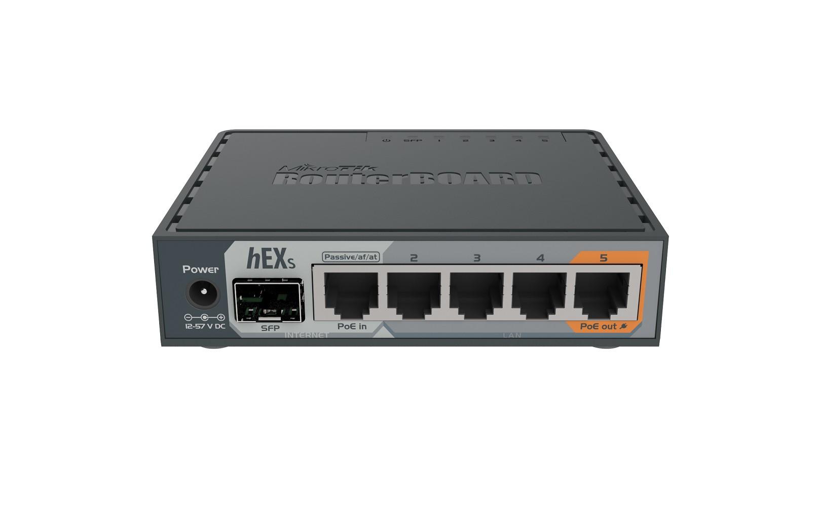 Roteador Mikrotik hEX S RB760iGS 5x1Gbps +1SFP 880mhz 256MB   - TNTinfo Loja