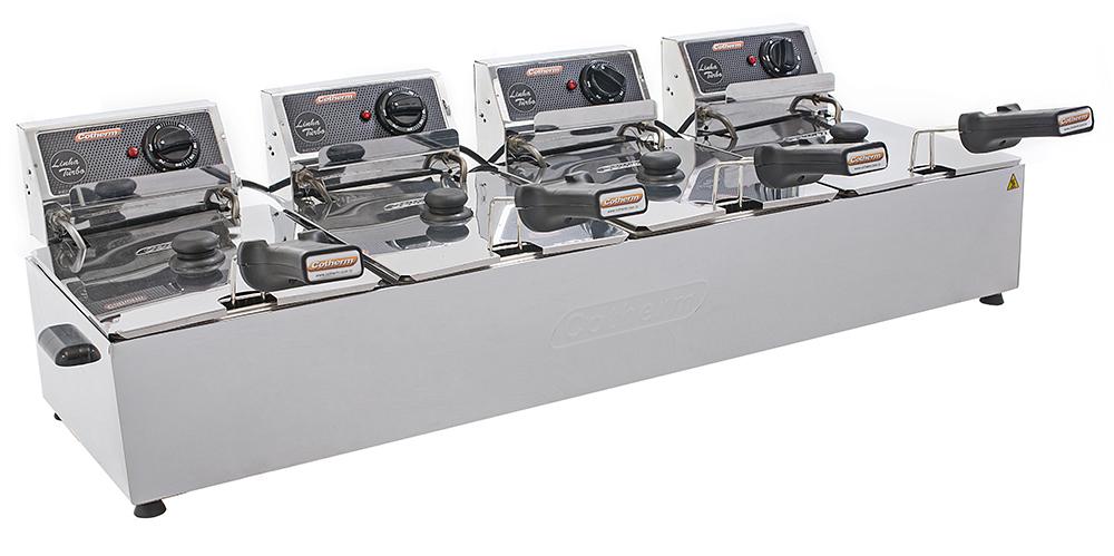 FRITADEIRA ELETRICA PROFISSIONAL TURBO 4 CUBAS 5 LITROS CADA  - Topcom Eletro