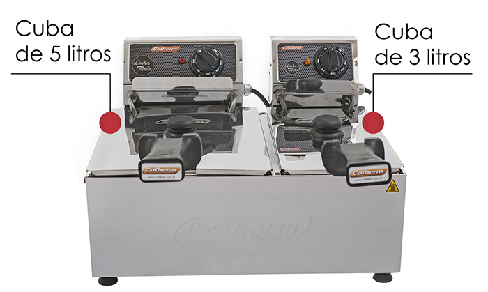 FRITADEIRA ELETRICA PROFISSIONAL TURBO 2 CUBAS 3 E 5 LITROS  - Topcom Eletro