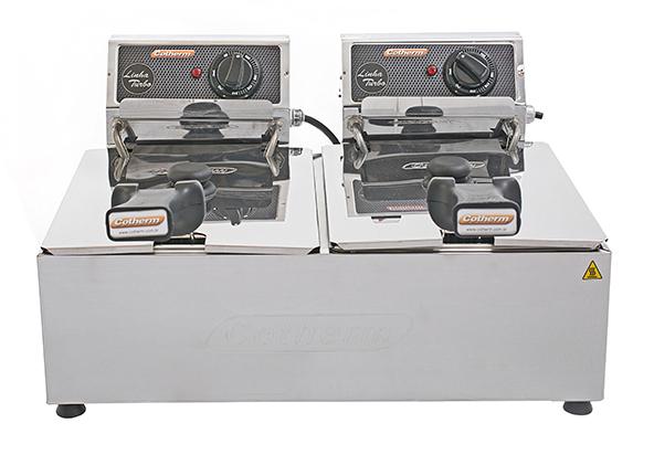 FRITADEIRA ELETRICA PROFISSIONAL TURBO 2 CUBAS 5 LITROS CADA 220V  - Topcom Eletro