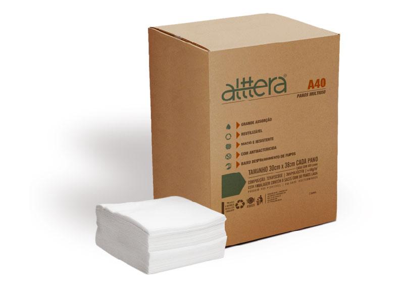 Pano multiuso - Caixa 44g/m2 com 8 Bags com 50 panos cada (com bactericida) Alttera A40