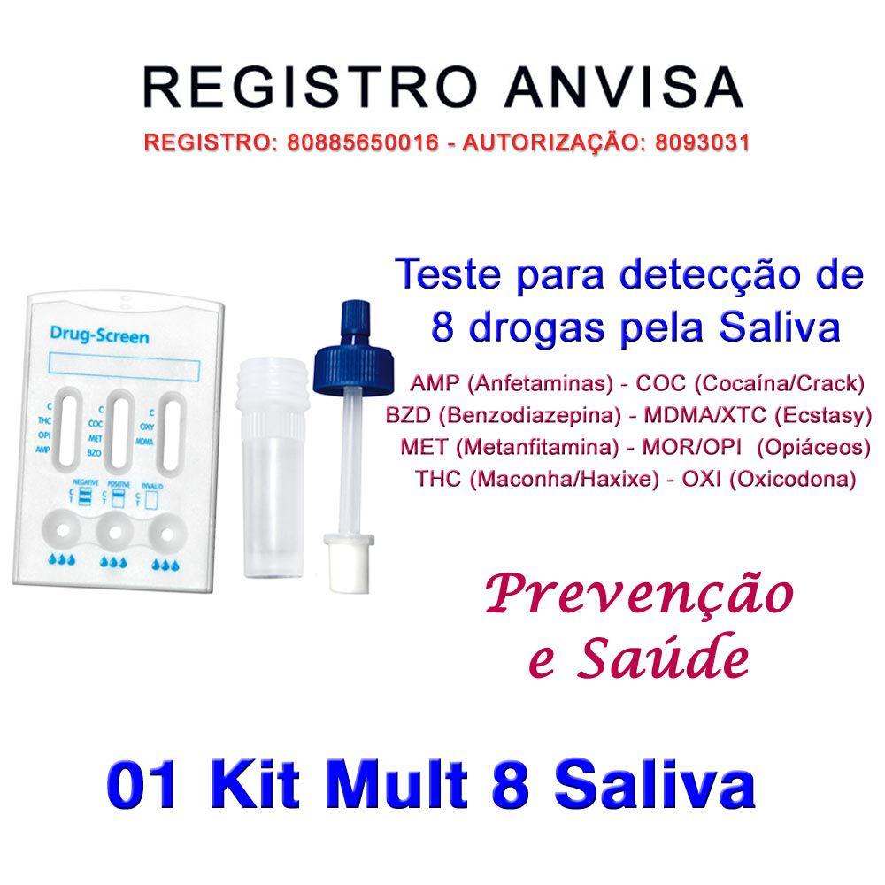 01 Kit Testes Mult 8 Pela Saliva  - Testes Para Drogas e COVID-19. Máscaras e Como Parar de Beber e Fumar