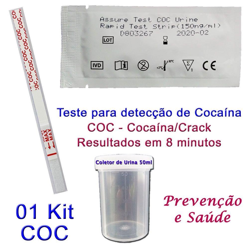 01 Kit para teste de COC-CRACK  - Testes Para Drogas e COVID-19. Máscaras e Como Parar de Beber e Fumar