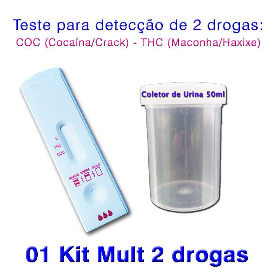 01 Kit para teste de 2 substâncias - COC+THC  - Prevenção e Saúde