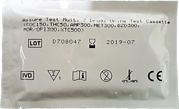 01 Kit para teste de sete substâncias: AMP + COC + MET + MOR + THC + XTC + BZD com coletor de urina.  - Prevenção e Saúde
