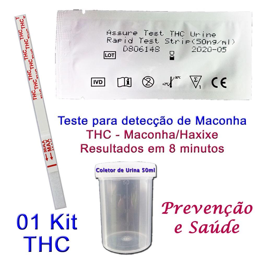 01 Kit para teste de THC  - Testes Para Drogas e COVID-19. Máscaras e Como Parar de Beber e Fumar