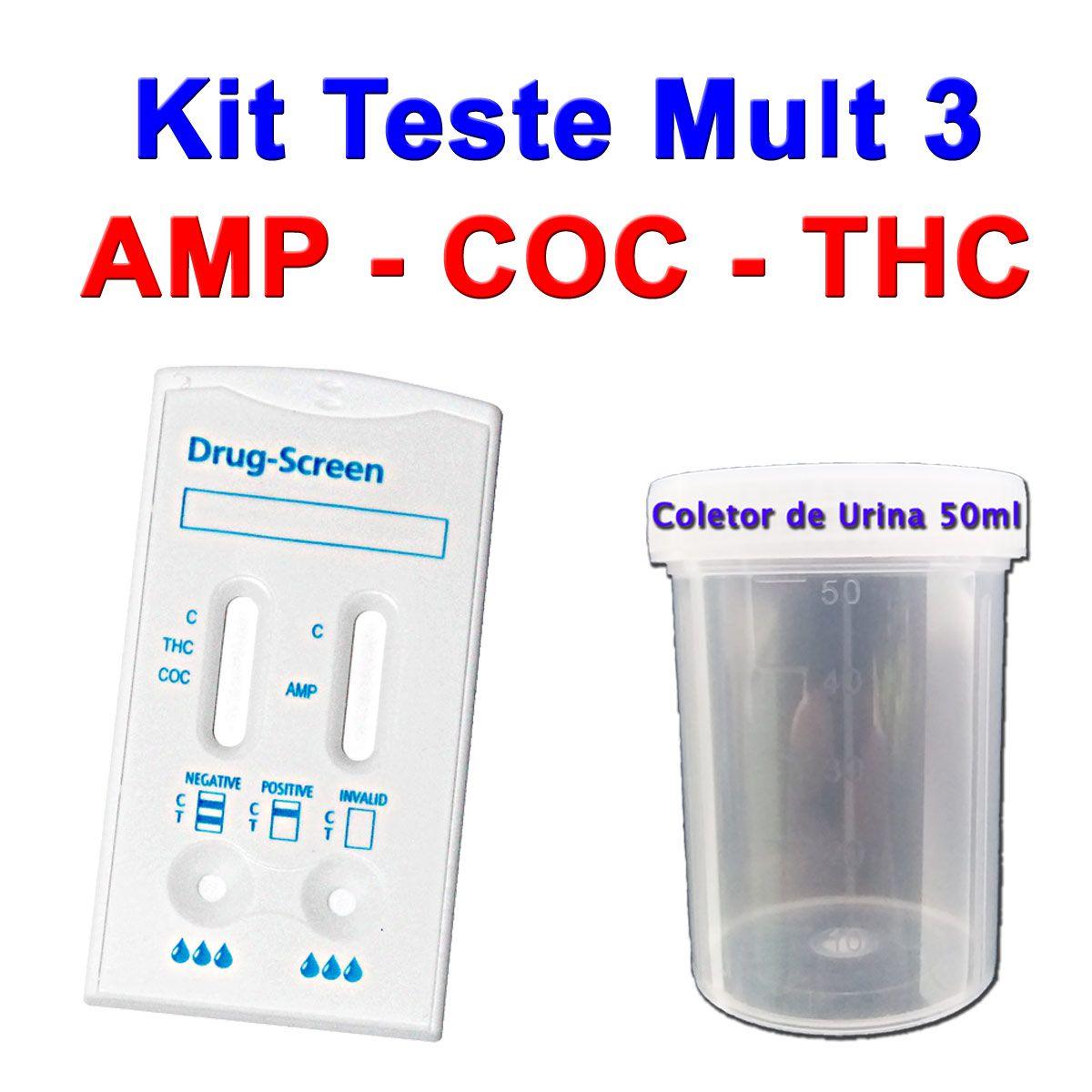 01 Kit para teste de AMP+COC+THC  - Testes Para Drogas e COVID-19. Máscaras e Como Parar de Beber e Fumar
