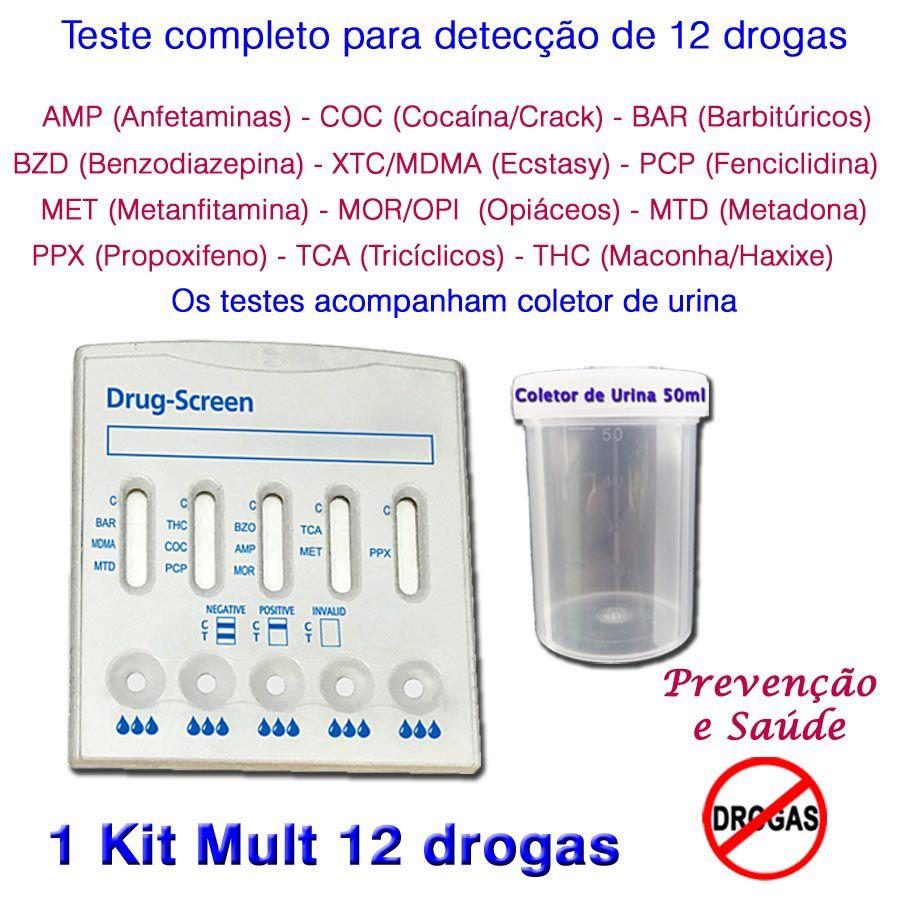 01 Kit para testes de 12 substâncias  - Prevenção e Saúde