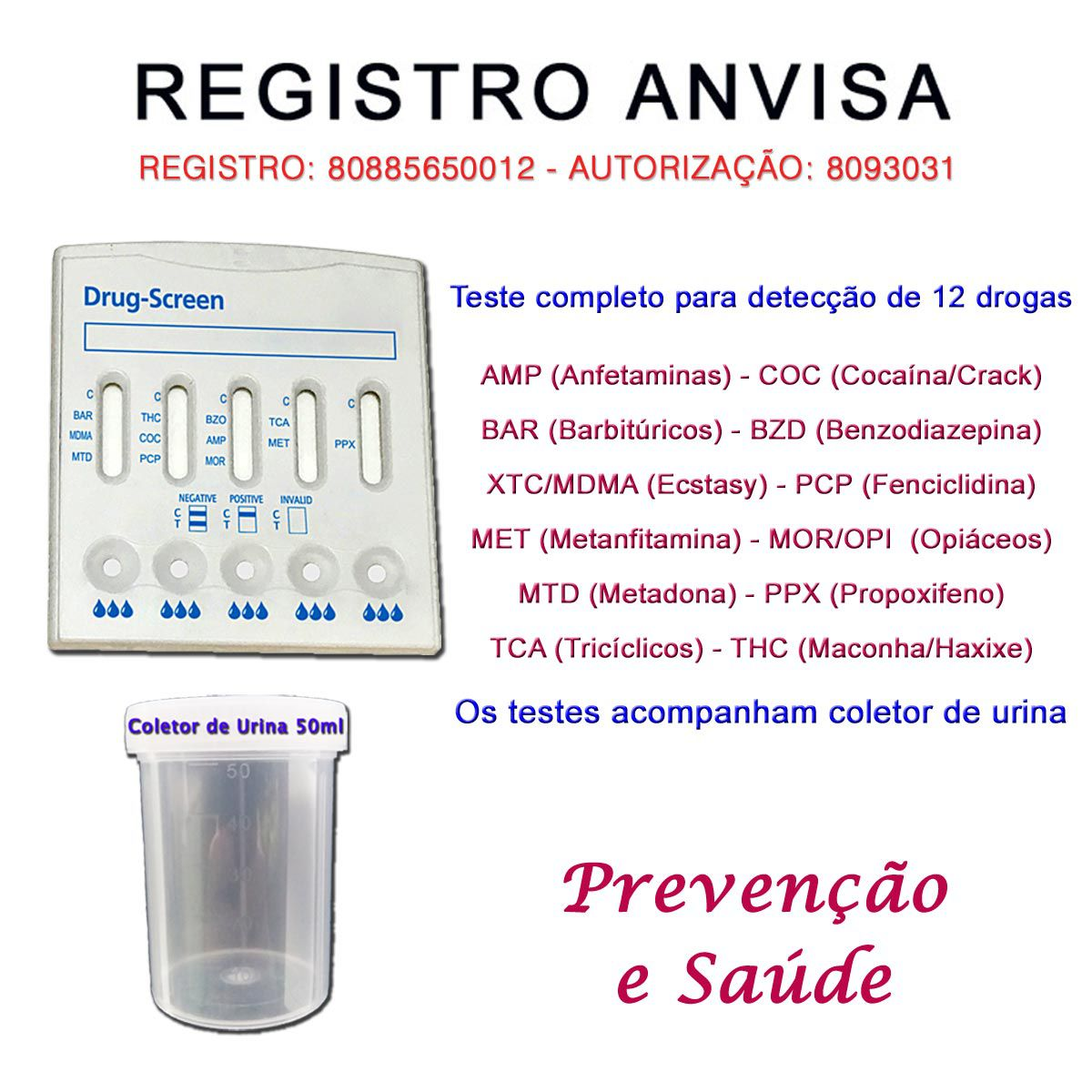 01 Kit Para Testes Mult 12  - Testes Para COVID e Drogas. Máscaras Descartáveis e Suplementos e Anti Tabaco