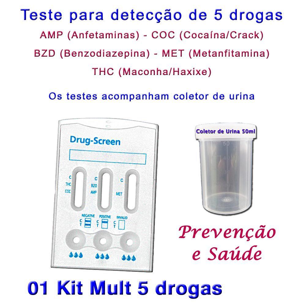1 kit Para Teste Mult 5  - Testes Para Drogas e COVID-19. Máscaras e Como Parar de Beber e Fumar