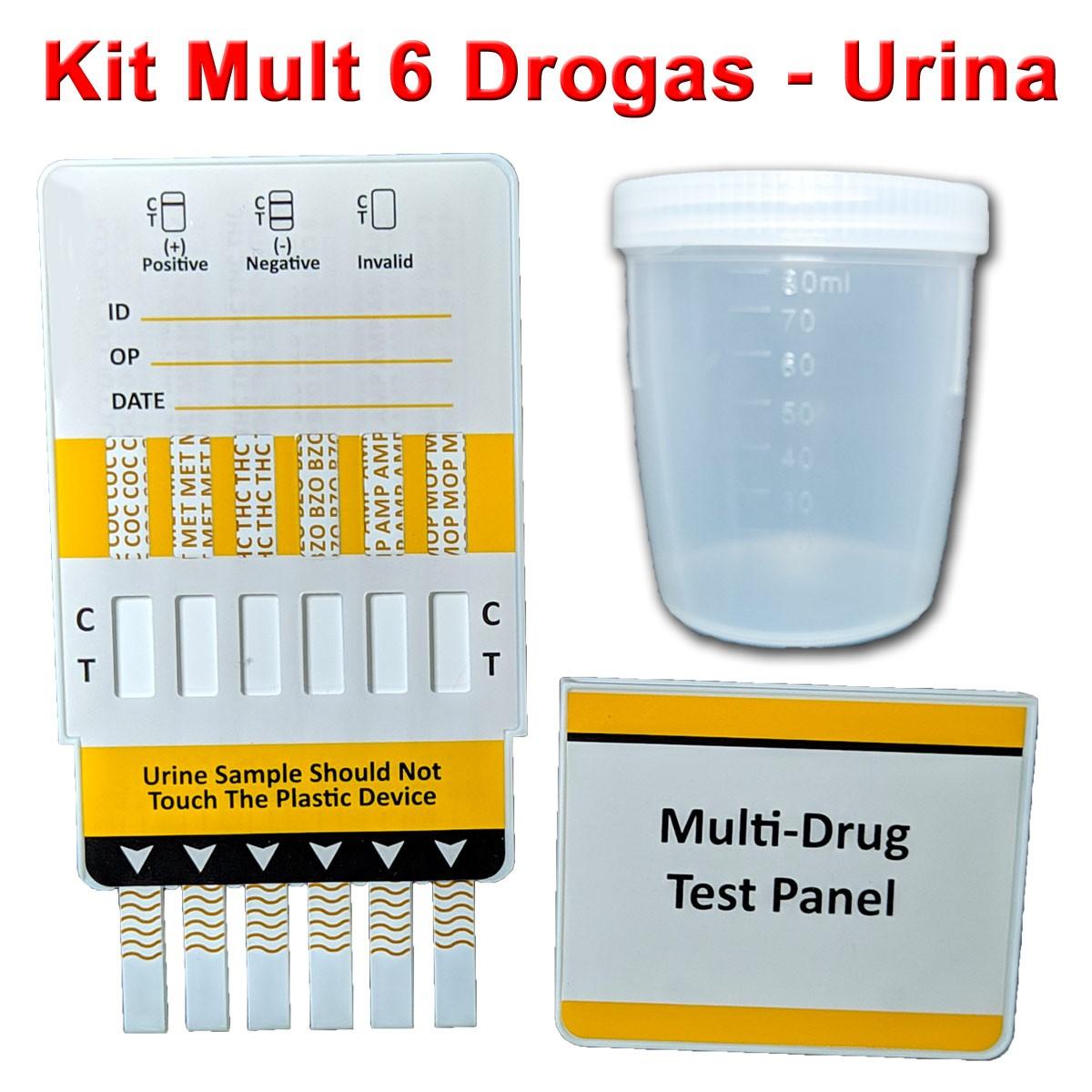 01 Kit Para Teste Mult 6  - Testes Para Drogas e COVID-19. Máscaras e Como Parar de Beber e Fumar