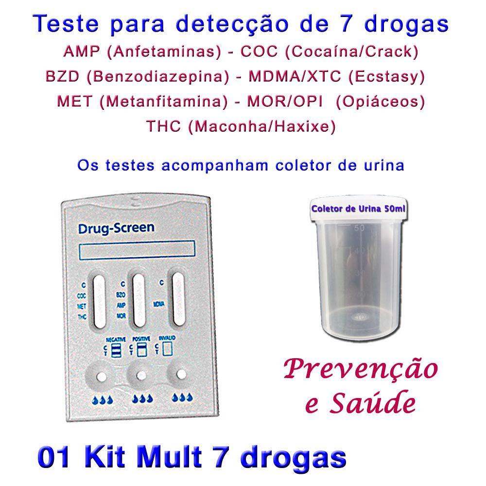 01 Kit para testes de 7 substâncias  - Testes Para Drogas e COVID-19. Máscaras e Como Parar de Beber e Fumar