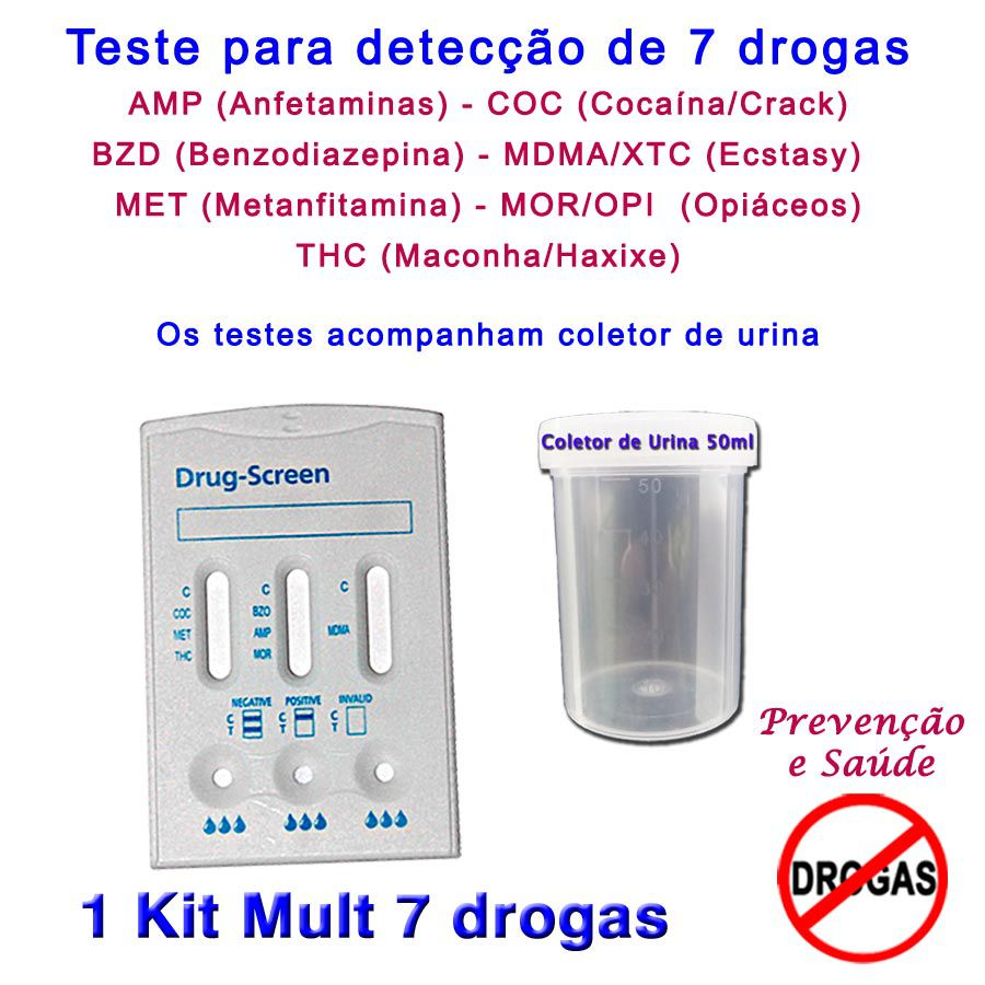 01 Kit para testes de 7 substâncias  - Prevenção e Saúde
