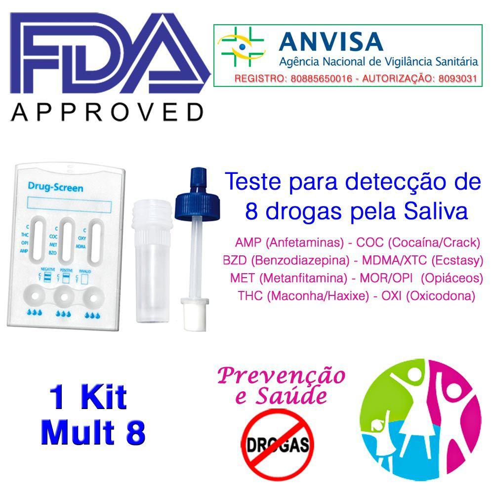 01 Kit para testar oito substâncias com coletor  - Prevenção e Saúde