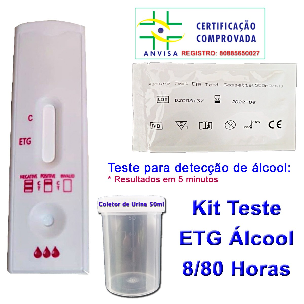 01 Teste Etg de Álcool Pela Urina  - Testes Para Drogas e COVID-19. Máscaras e Como Parar de Beber e Fumar