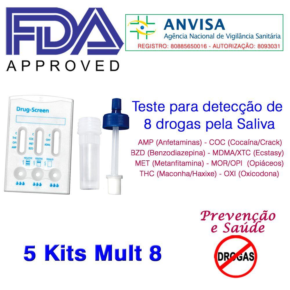 05 Kits para teste 8 substâncias  - Prevenção e Saúde