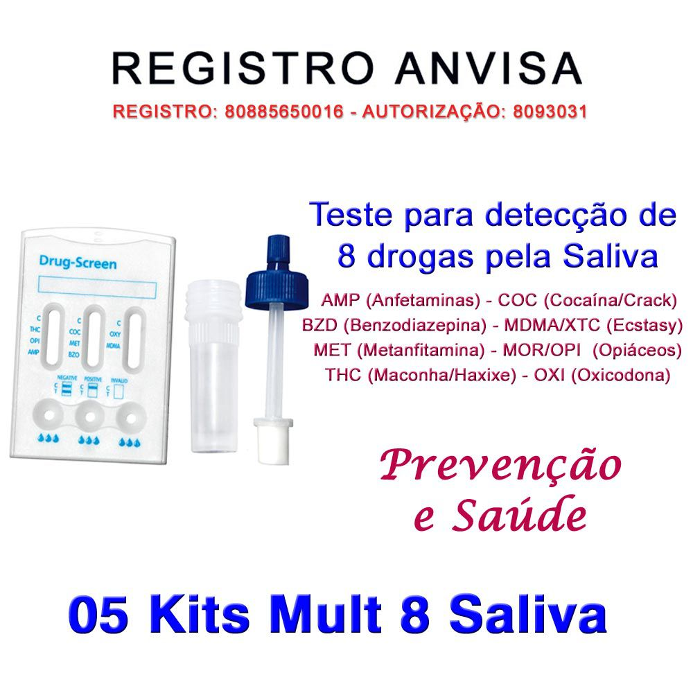 05 Kits Testes Mult 8 Pela Saliva  - Testes Para Drogas e COVID-19. Máscaras e Como Parar de Beber e Fumar