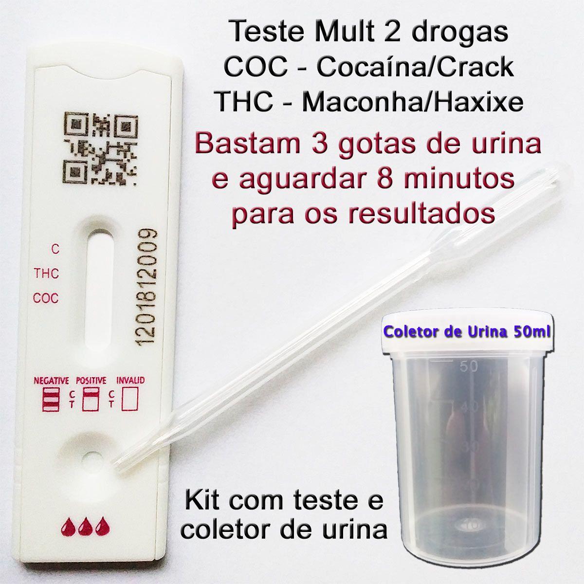 05 Kits para teste de 2 substâncias - COC+THC  - Testes Para Drogas e Parar de Beber e Fumar