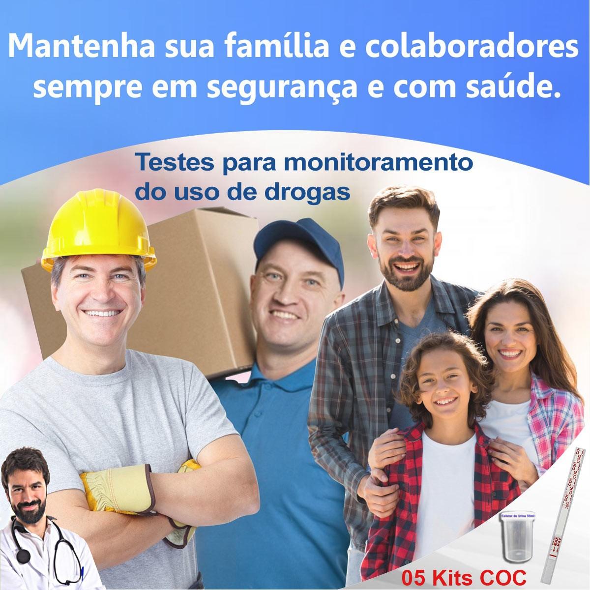05 Kits para teste de COC  - Testes Para COVID e Drogas. Máscaras Descartáveis e Suplementos e Anti Tabaco