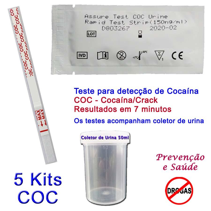 05 Kits para teste de COC  - Prevenção e Saúde