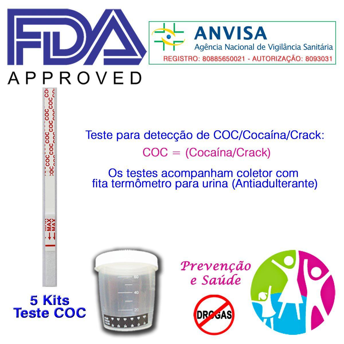 05 Kits para teste de COC-CRACK com coletor de urina  - Prevenção e Saúde
