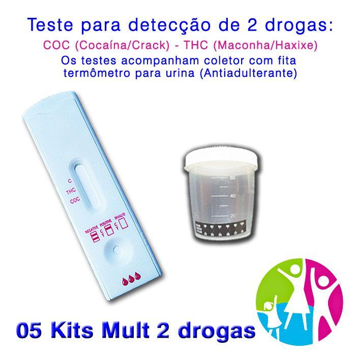 05 Kits para teste de duas substâncias - COC+THC com coletor de urina  - Prevenção e Saúde