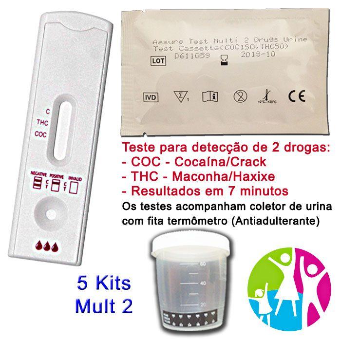 05 Kits para teste de duas substâncias: R$120,00 - COC+THC com coletor de urina  - Prevenção e Saúde