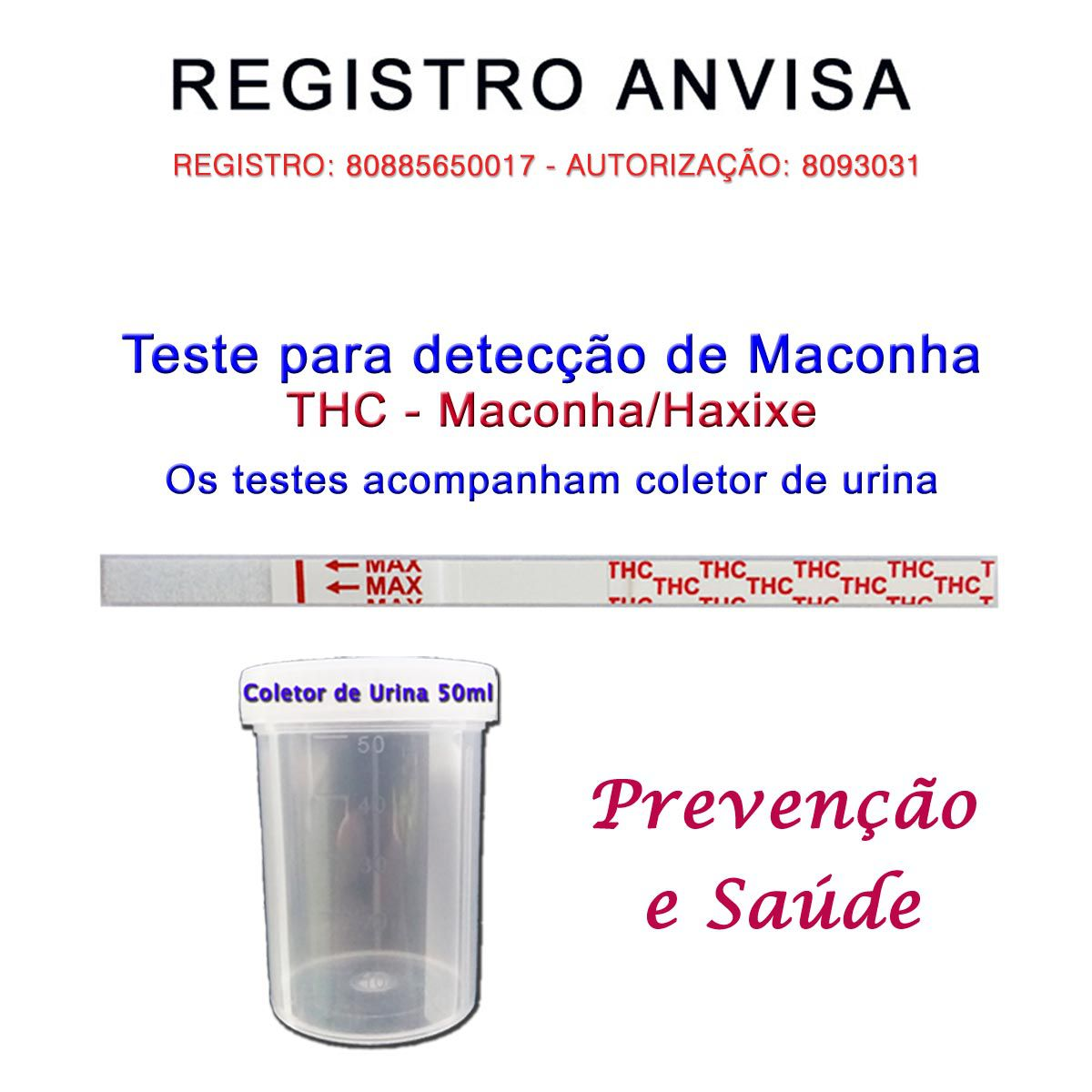 05 Kits para teste de THC  - Testes Para COVID e Drogas. Máscaras Descartáveis e Suplementos e Anti Tabaco