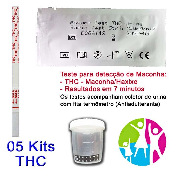 05 Kits para teste de THC com coletor de urina  - Prevenção e Saúde
