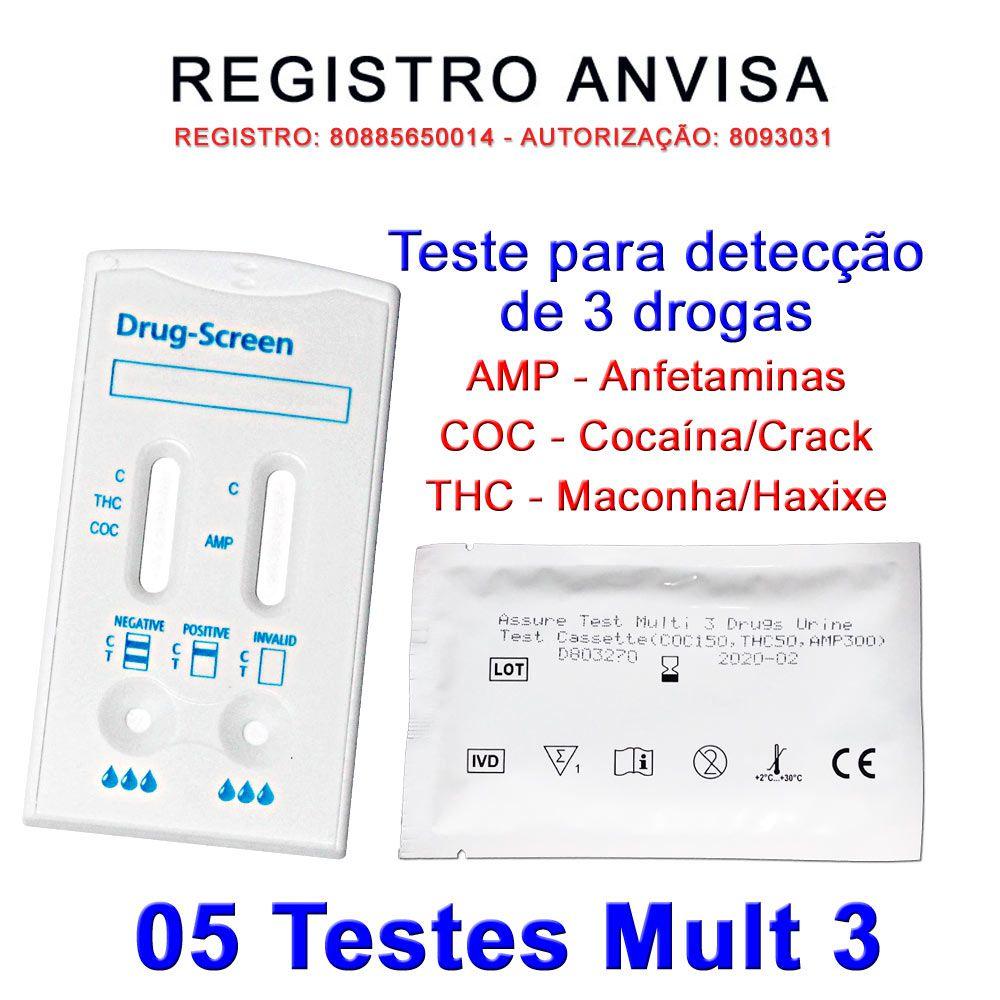 05 Kits Para Teste Mult 3 AMP+COC+THC  - Testes Para Drogas e COVID-19. Máscaras e Como Parar de Beber e Fumar