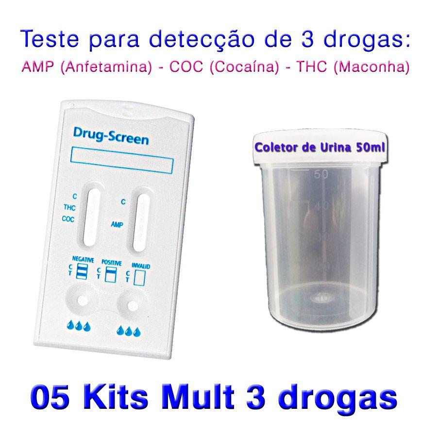 05 Kits para teste de três substâncias - AMP+COC+THC  - Testes Para Drogas e COVID-19. Máscaras e Como Parar de Beber e Fumar