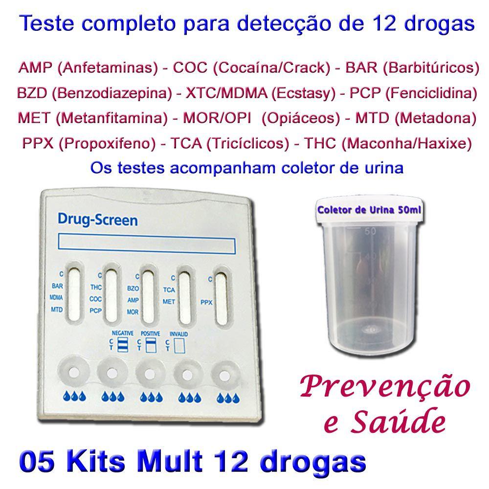 05 Kits para testes de 12 substâncias  - Testes Para Drogas e COVID-19. Máscaras e Como Parar de Beber e Fumar