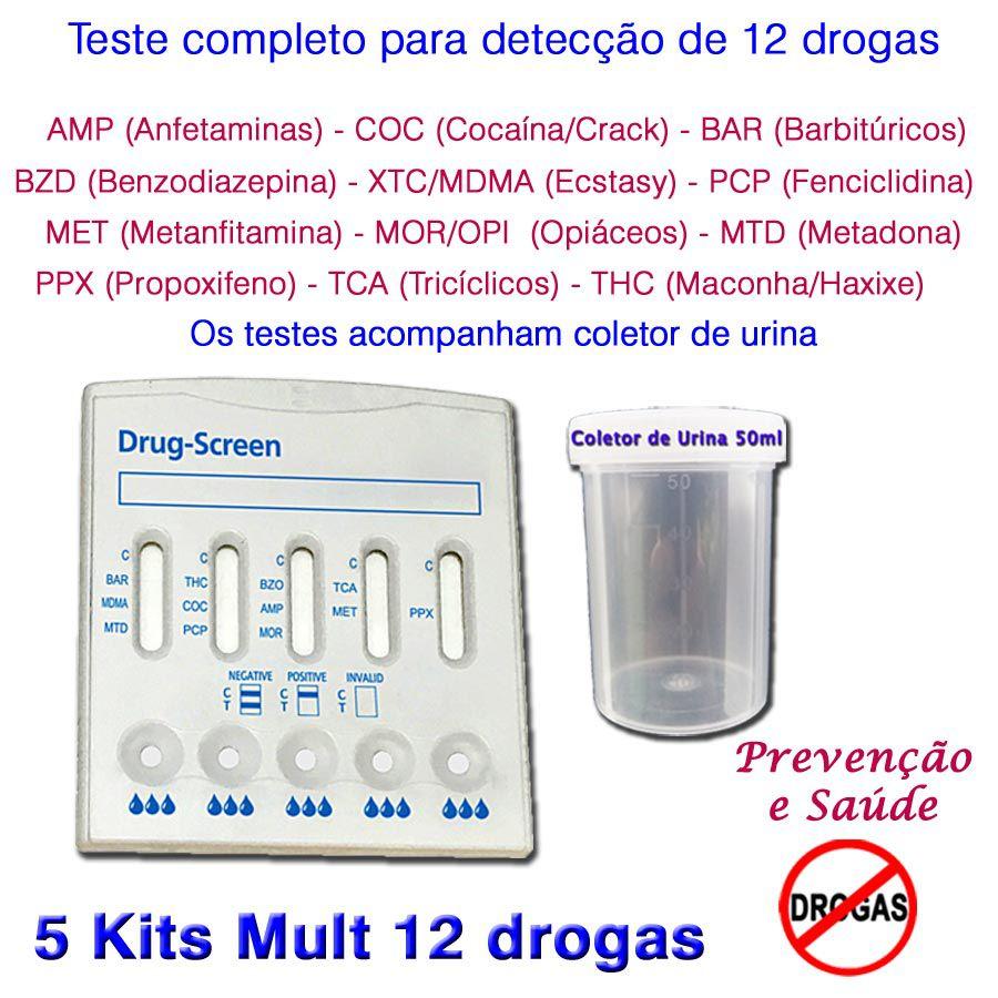 05 Kits para testes de 12 substâncias  - Prevenção e Saúde