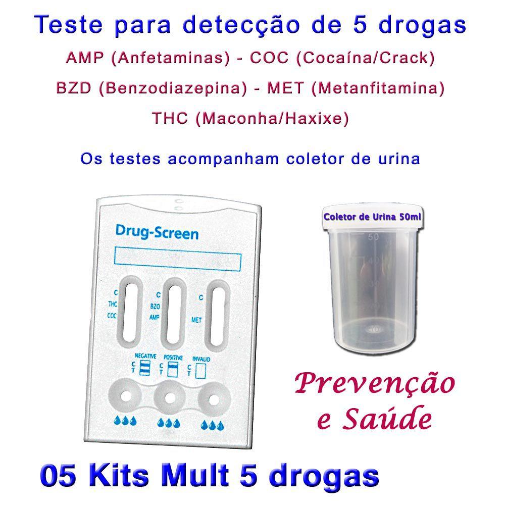 05 Kits para testes de 5 substâncias  - Testes Para Drogas e Parar de Beber e Fumar