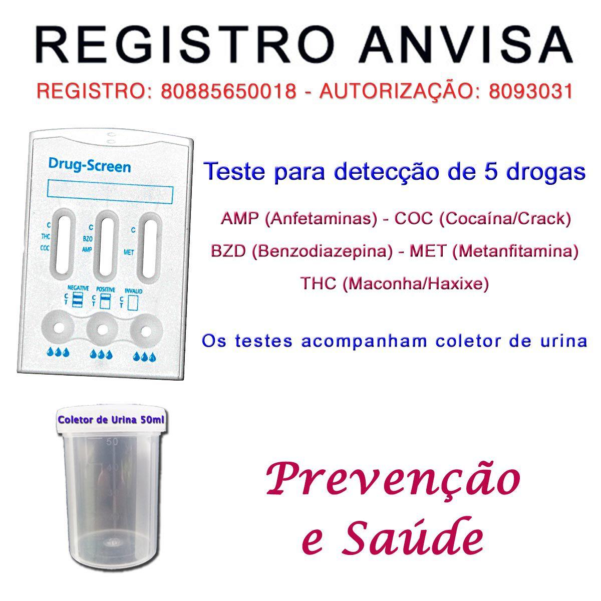 05 Kits para testes de 5 substâncias  - Testes Para Drogas e COVID-19. Máscaras e Como Parar de Beber e Fumar