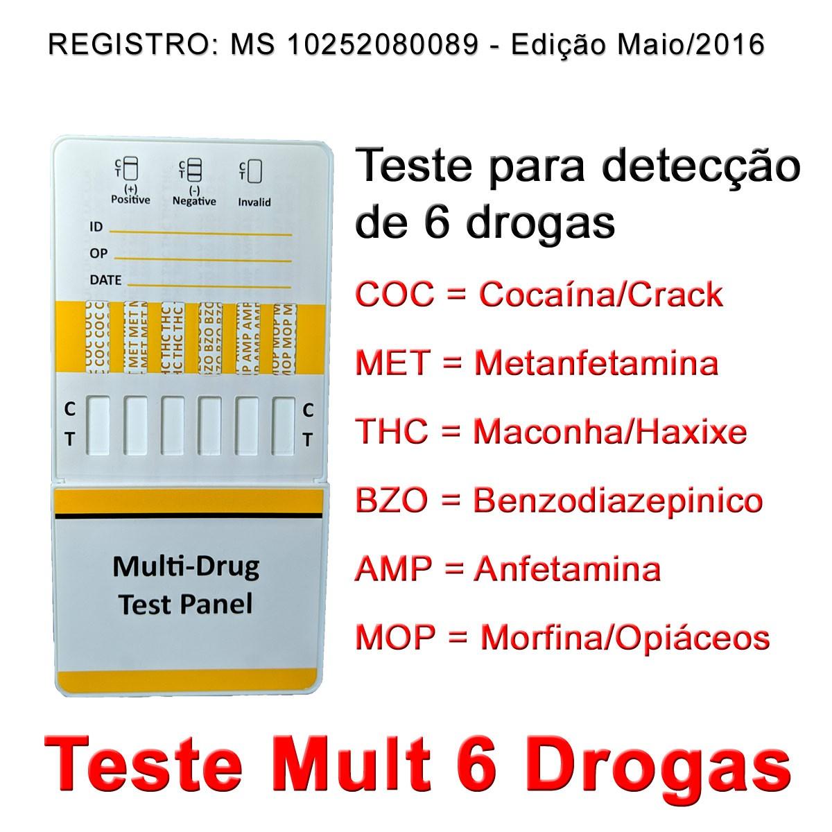 05 Kits Para Testes Mult 6  - Testes Para Drogas e COVID-19. Máscaras e Como Parar de Beber e Fumar