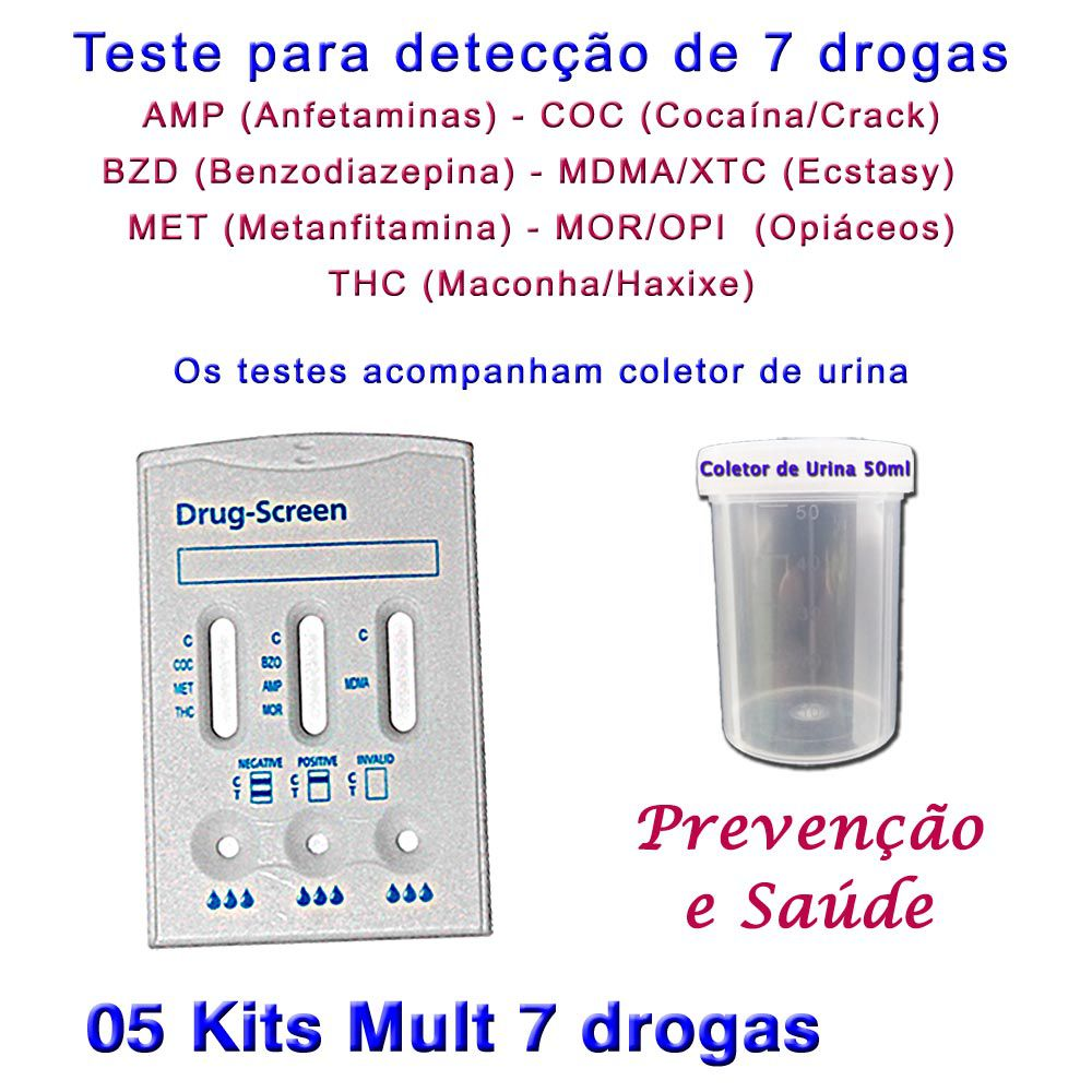 05 Kits Para Testes Mult 7  - Testes Para Drogas e COVID-19. Máscaras e Como Parar de Beber e Fumar