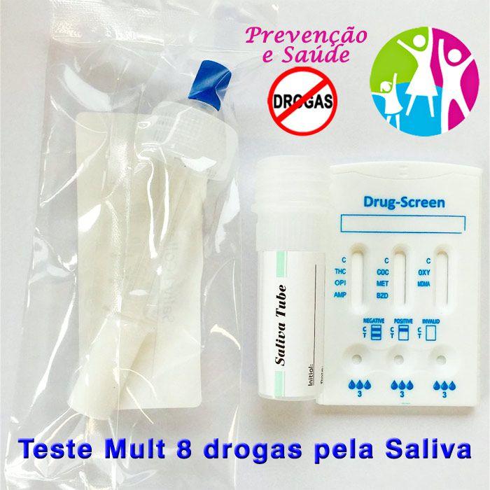 05 Kits para testar oito substâncias com coletor  - Prevenção e Saúde