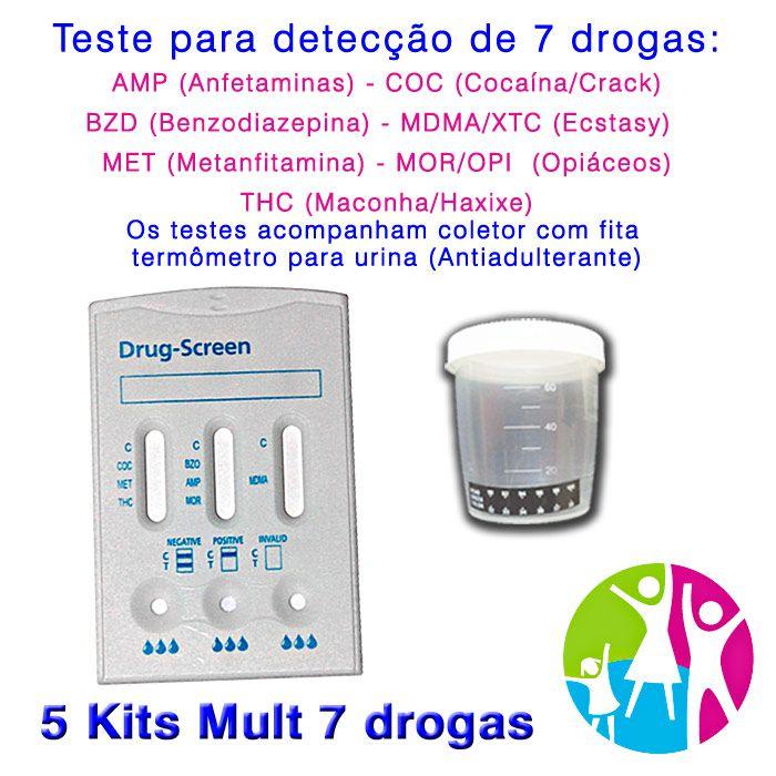 05 Kits para testes de sete substâncias com coletor de urina  - Prevenção e Saúde