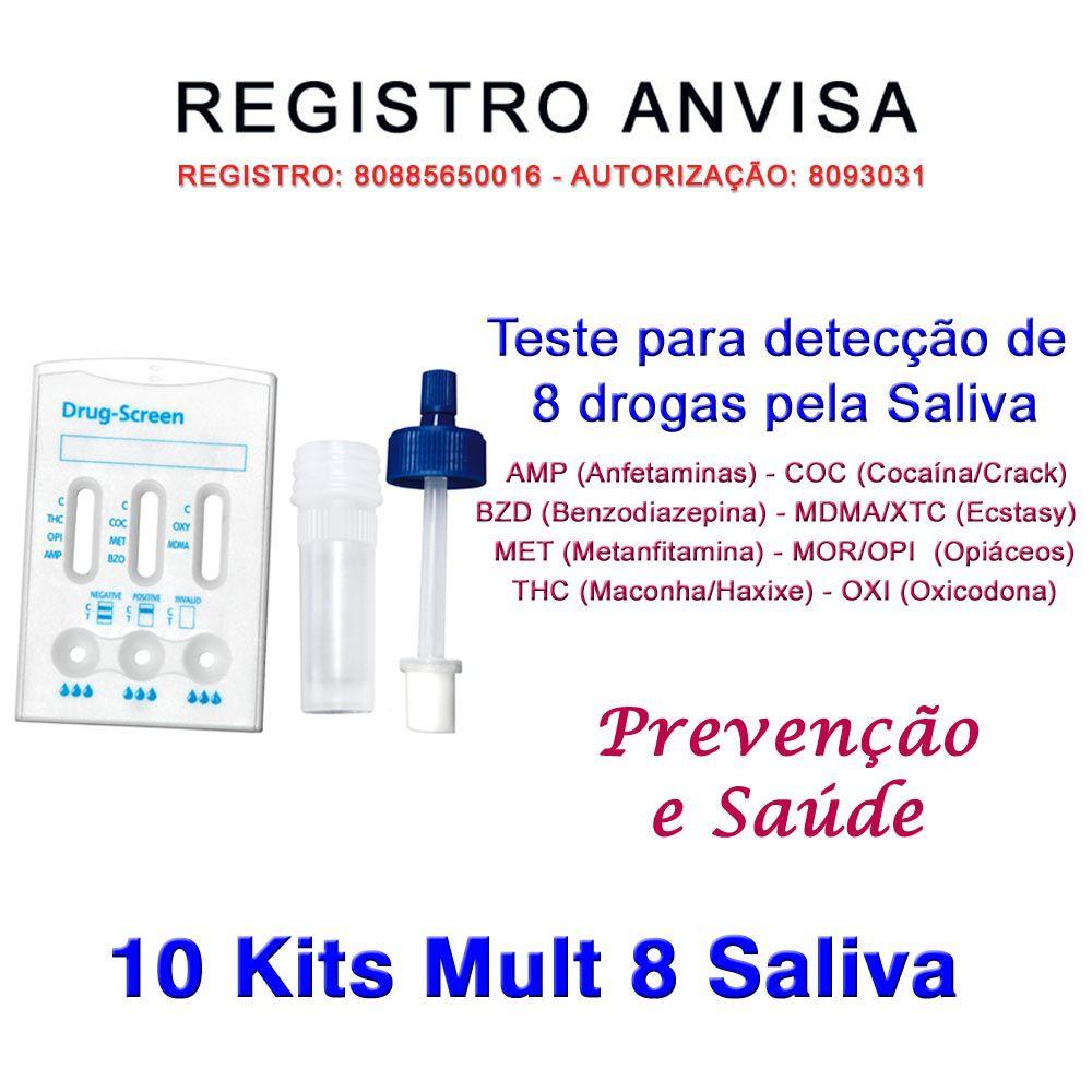10 Kits  Testes Mult 8 Pela Saliva  - Testes Para Drogas e COVID-19. Máscaras e Como Parar de Beber e Fumar