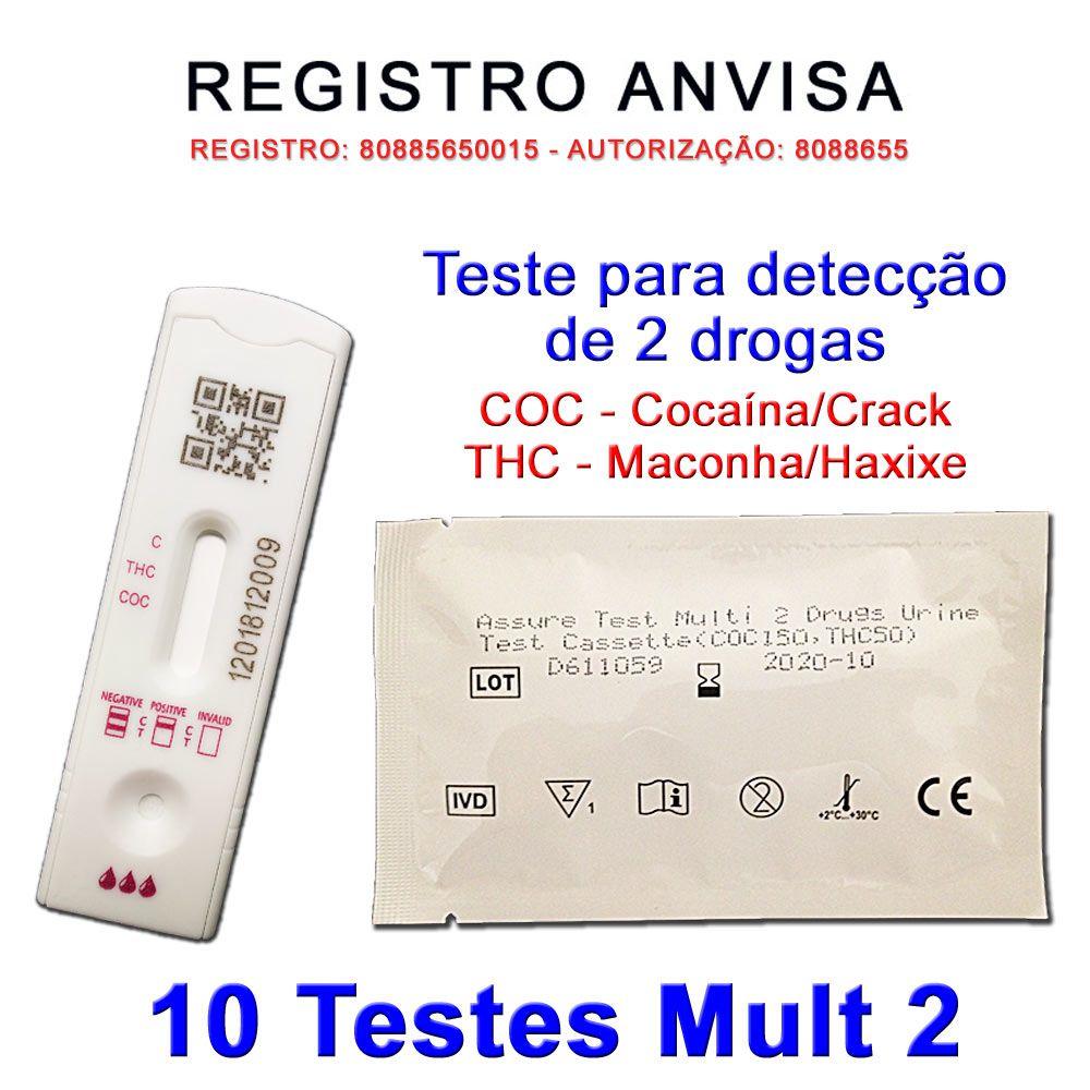 10 Kits para teste de 2 substâncias - COC+THC  - Testes Para Drogas e Parar de Beber e Fumar