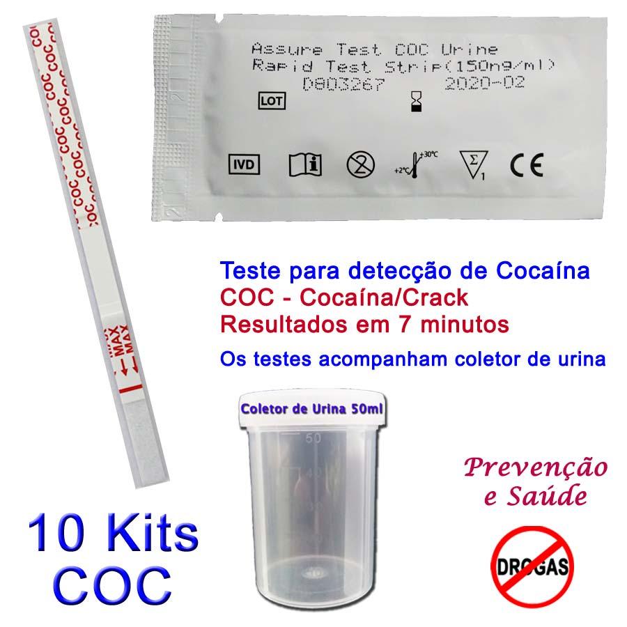 10 Kits para teste de COC-CRACK  - Prevenção e Saúde