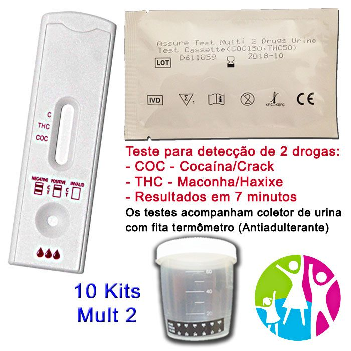 10 Kits para teste de duas substâncias: COC+THC com coletor de urina  - Prevenção e Saúde