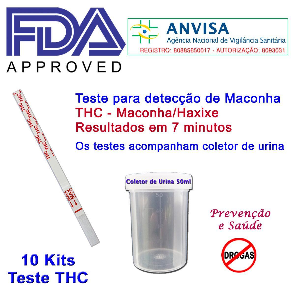 10 Kits para teste de-THC  - Prevenção e Saúde