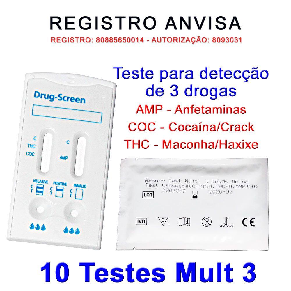 10 Kits Para Teste Mult 3 AMP+COC+THC  - Testes Para Drogas e COVID-19. Máscaras e Como Parar de Beber e Fumar