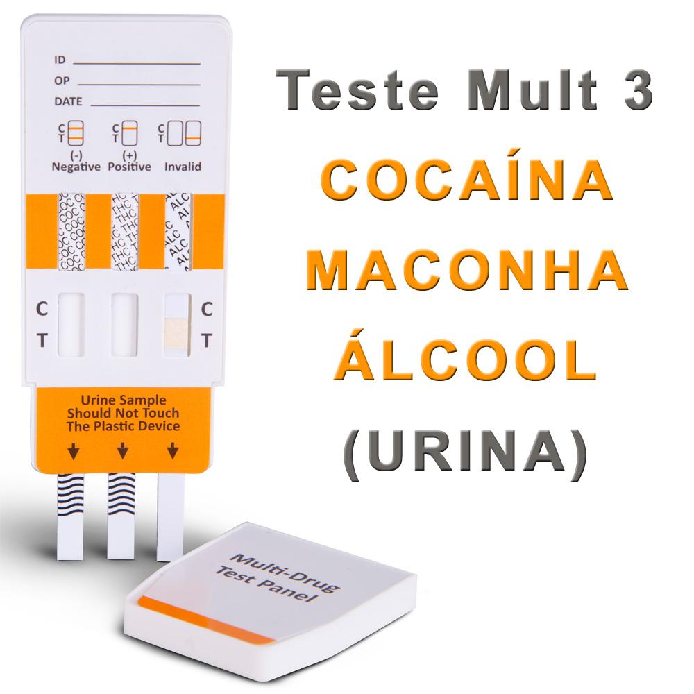 10 Kits Para Teste Mult 3 COC+THC+ALCOOL  - Testes Para COVID e Drogas. Máscaras Descartáveis e Suplementos e Anti Tabaco