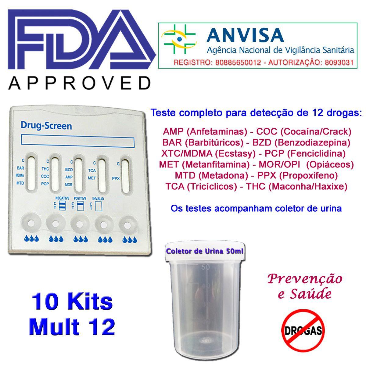 10 Kits para testes de 12 substâncias  - Prevenção e Saúde