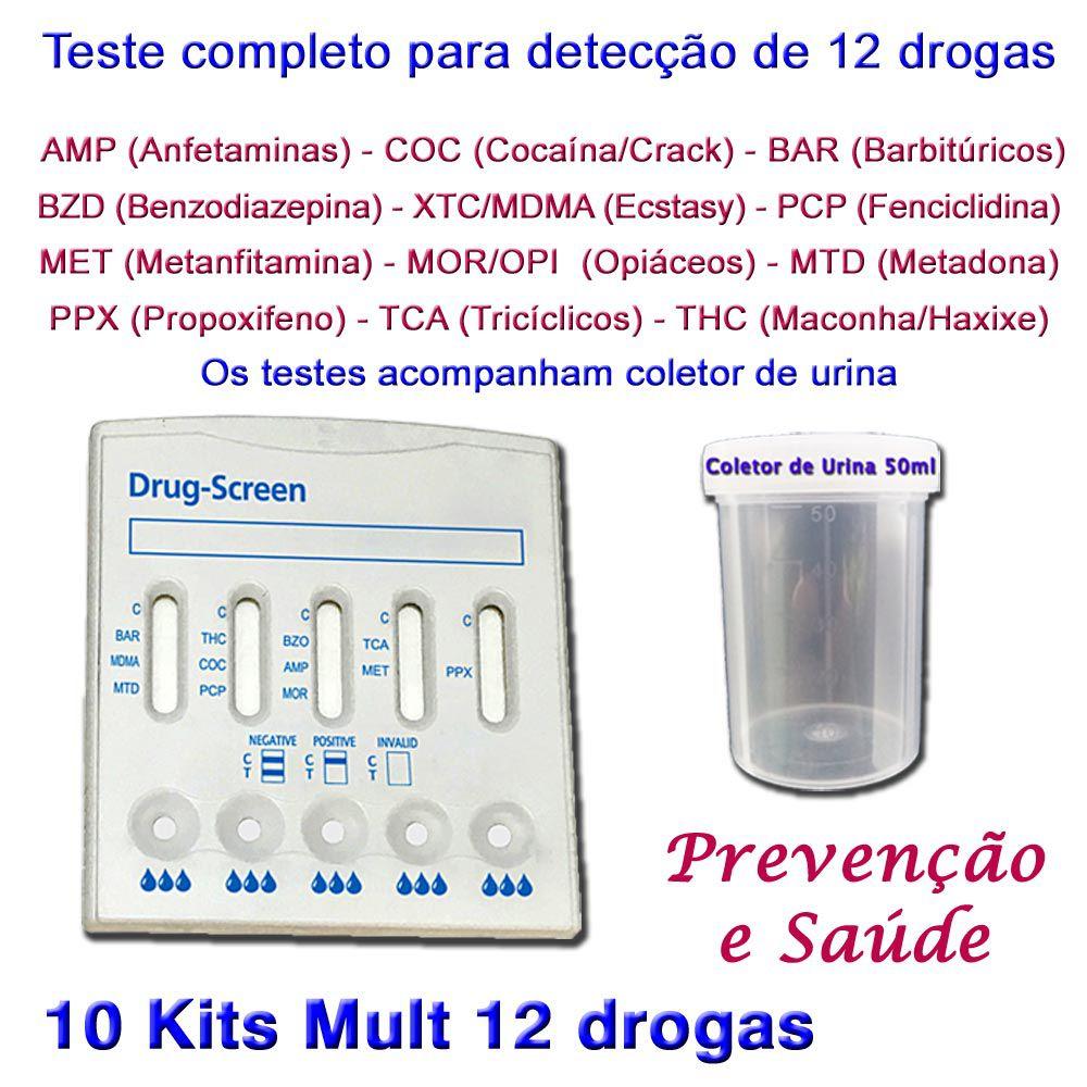 10 Kits para testes de 12 substâncias  - Testes Para Drogas e Parar de Beber e Fumar
